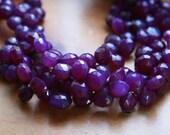 Grape / Dark Purple Chalcedony Faceted Heart Briolettes - HALF STRAND