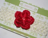 SALE -  Beautiful Red Flower Cream Headband - Baby/Toddler/Child - Perfect for Newborns, Special Occassion, Wedding and Photography Prop