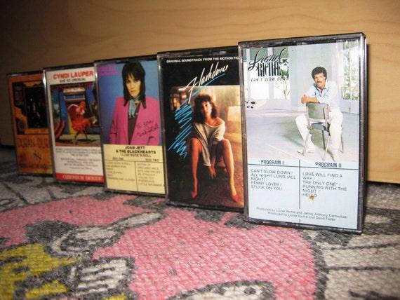 Retro 80's Lot of 5 cassette tapes LIONEL RICHIE joan jett DURAN DURAN cindi lauper FLASHDANCE SOUNDTRACK music