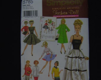 Barbie Doll Simplicity 5785 1950s Archives Reproduction