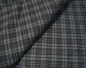 Black and White Plaid Rayon Blend Suitweight Fabric