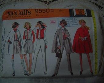 Cape Vest Pants Culottes 1970s McCalls 9550