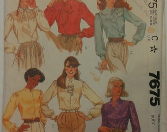 Classic or Prairie or Steampunk styling Blouse with Yoke and Collar Variations Size 14 McCalls 7675