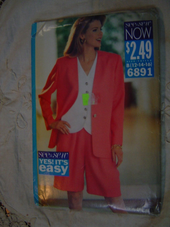 SALE Easy Women Jacket and Shorts Fitted Top Butterick 6891 12 14 16