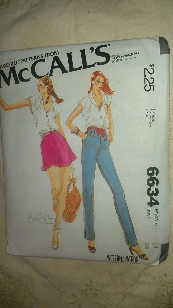 Shirt Blouse Pants Bias Loose Shorts McCalls 6634 Basile Size 14