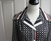 Vintage Geometric Pattern Black White and Brown Shirtdress Size 16