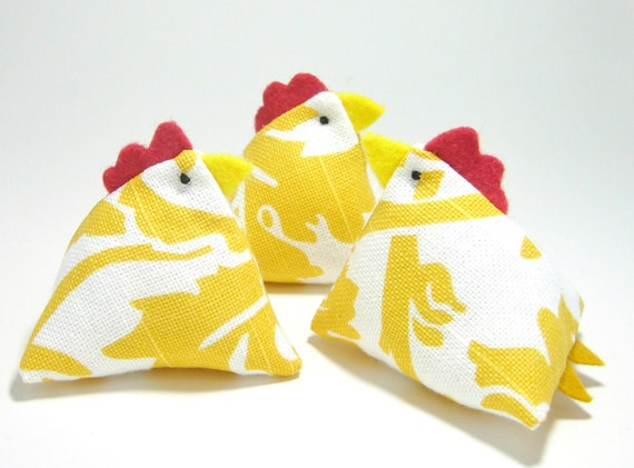 Three French Hen Pincushions in Mustard Yellow and White Damask