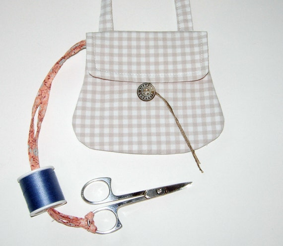 Beige and White Gingham Sewing Chatelaine