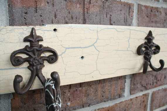 Reclaimed Yellow Vintage Trim with Coat Hooks