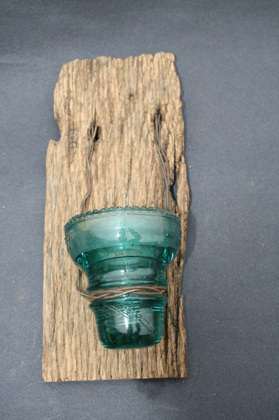 Barn Wood Recycled Candle Sconces With Blue By Timelessjourney