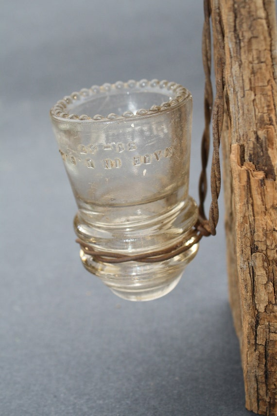 Barn Wood Recycled Candle Sconce with Small Clear Vintage Glass Insulator
