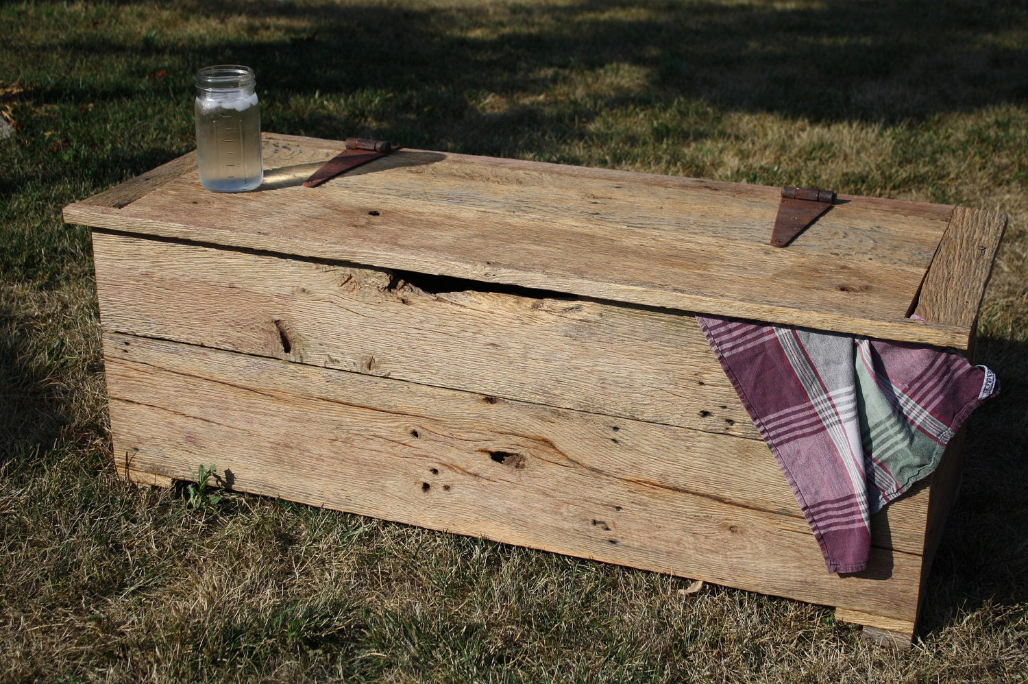 Reclaimed Rustic Barn Wood Storage Chest Coffee Table Or