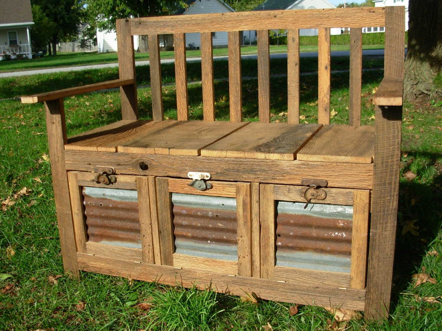 Rustic And Reclaimed Barn Wood Storage Bench