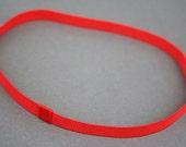 Cherry Red Thin Grosgrain Stretch Headband