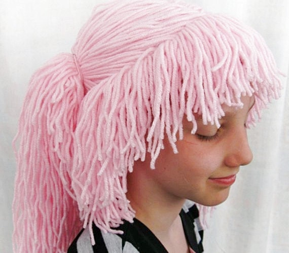 Pink hair yarn wig for kids - Just for fun -