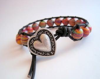 Striped Leather Wrap Bracelet