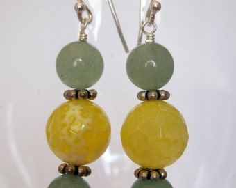 Lemon-lime Gemstone Earrings