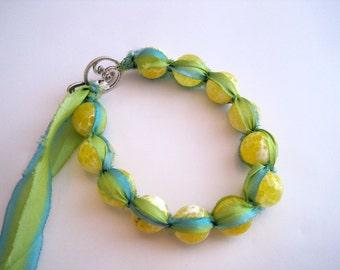 Yellow Agate Silk Macrame Bracelet