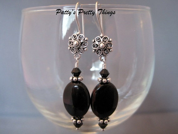 Black Agate, Crystal, and Sterling Silver Earrings