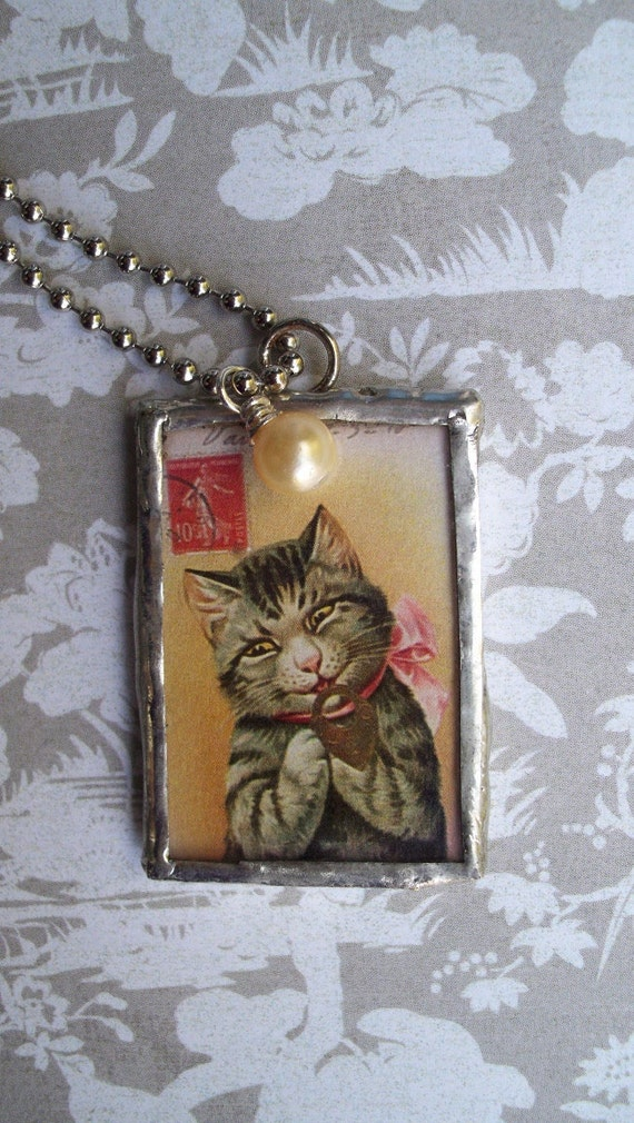 French Cat  Necklace with Reversible Pendant and Vintage Bead - Glass Slide Pendant