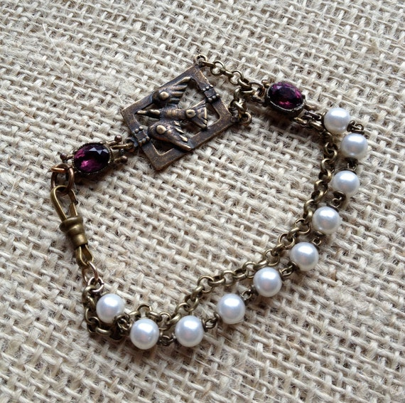 Vintage Assembled Bracelet - Brass, Pearl and Amethyst Bracelet with Dainty Vintage Brass Swallow