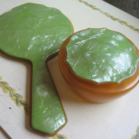 Circa 1930s Celluloid Dresser Mirror And Powder Jar- Pearlized Ice Lime Green With Amber Powder Jar