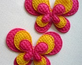 2 X Set Your Heart A Flutter Pink 'n' Yellow Butterfly Applique Embellishment for Scrapbooking, Cards, Paper Craft, Hair Bows, Hair Clips, Headbands, Clippies, Etc.