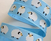 3 Yards of Baa Baa White Sheep Grosgrain Ribbon for Hair Bows, Clippies, Scrapbooks, Cards, Etc.
