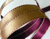 3 Yards of Molten Gold 'n' Wine Reversible Two-Sided Satin Ribbon With Saddle Stitch Edging for Scrapbooking Sewing, Milinery, Jewelry, Gifts, Cards, Floral Arrangements, Etc.