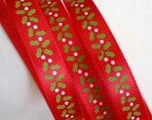 3 Yards of Let's Kiss Under the Mistletoe Red Printed Satin Ribbon for Christmas Gifts, Cards, Bows, Etc.