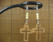 Recycled Eco-Friendly Jerusalem Olive Wood Cutout Cross Earrings Speckled Egg Beads