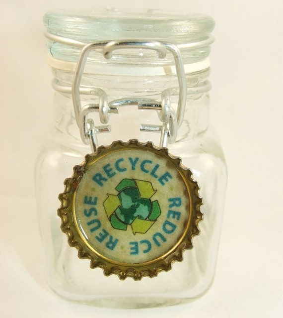 Reduce reuse recycle recycled beer bottle cap magnet digital for Can beer bottle caps be recycled