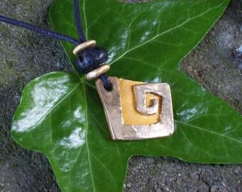 SALE Jagged Geometirc Spiral Bronze Pendant