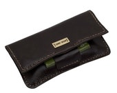 Tobacco pouch in brown leather and personalized