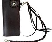 Biker wallet in dark brown leather