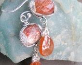 Sweet Tangerine Sunstone and Orange Spessartite Garnet Earrings