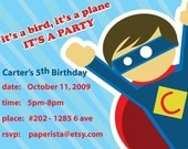 Super Hero Boy Birthday Invitation