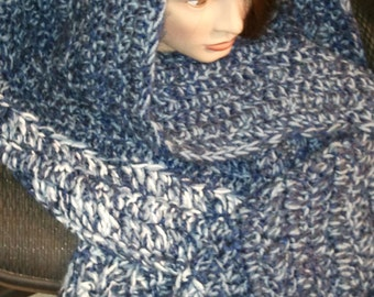 Magnetic blue and white shawl or lap warmer- Free Shipping