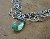 Silver Necklace Antiqued Peridot Green Swarovski Crystal  (Free Shipping)