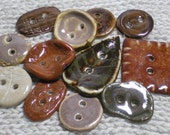 Dozen Handmade Earthtone Buttons Ceramic