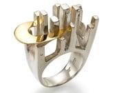 GOLDEN HIGHWAY FANTASY - Ring - Silver, 18k gold, diamonds.  RESERVED for Sharon
