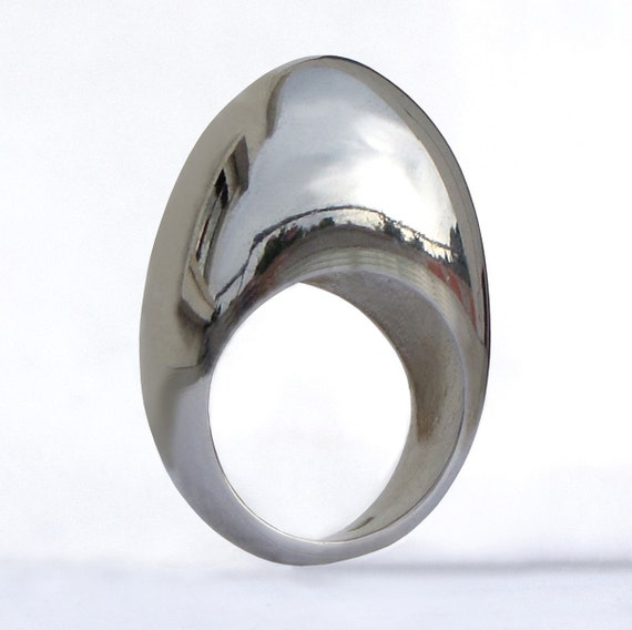 MODERN SILVER EGG  - Ring - Sterling Silver- Custom size - NEW 2010 Collection -