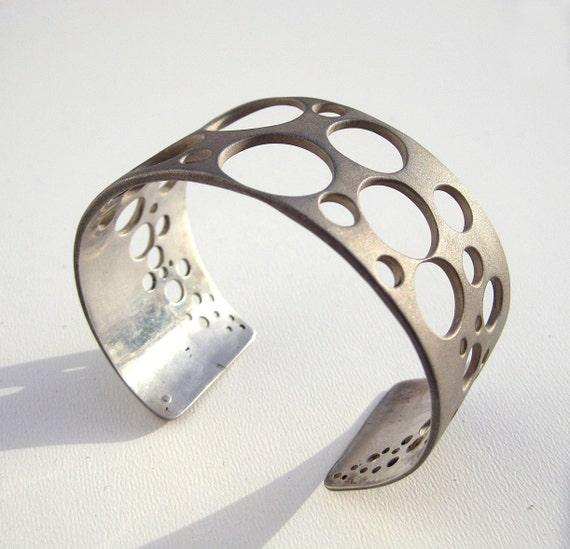 Sterling Silver Cuff Bracelet Sandblasted Geometric  Jewelry Ooak - Bubbles