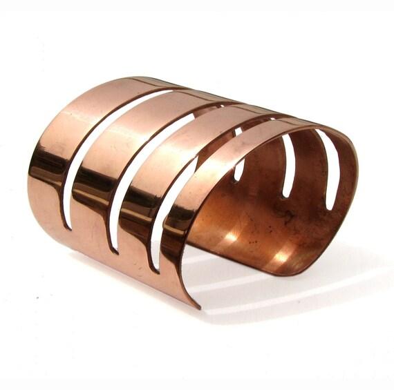 TECHNO - Cuff bracelet in copper OOAK
