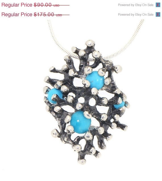 LAST 24h SALE 60% OFF Reef  Unique Oxidized Silver Turquoise Pendant Ooak Modern jewelry