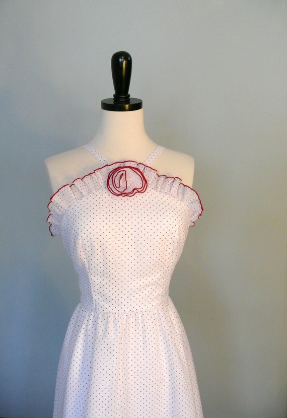 dress vintage 1960s //  White and Red Ruffle Polka Dot Dress