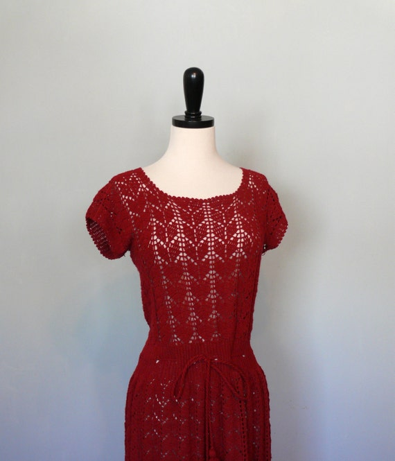 vintage 1950s Dress  // Cranberry Pointelle Knit Dress