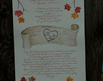 Hand Lettered Quaker Marriage Certificate - Hand Calligraphy, Autumn Fall Leaves in Watercolor DEPOSIT