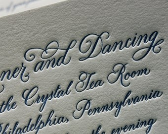 Letterpress Wedding Invitation featuring Hand Calligraphy DEPOSIT
