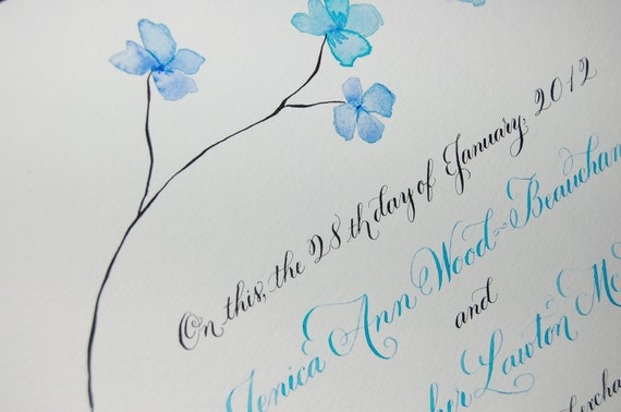 Hand Lettered Quaker Marriage Certificate - Featuring Hand Calligraphy, Watercolor leaves or flowers deposit